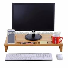 eco friendly decorative wooden monitor riser stand 2 tier desktop