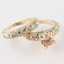 his and wedding ring set 1set his copper alloy golden engagement ring wedding ring set