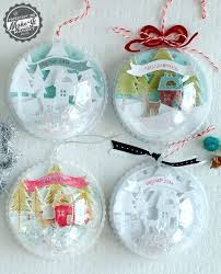 handmade shadowbox style ornaments made with papertrey ink