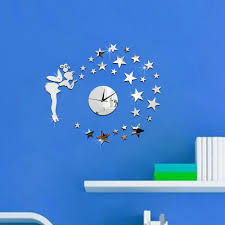 diy 3d wall clock gold silver new acrylic star mirror sticker