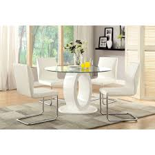 Circular Glass Dining Table And 4 Chairs Furniture Of America Damore Contemporary 5 Piece High Gloss Round