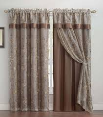 Double Panel Shower Curtains Chocolate Brown Double Layer Embroidered Window Curtain Floral