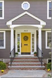 grey house with yellow u0026 red front door design ideas 2017 pics