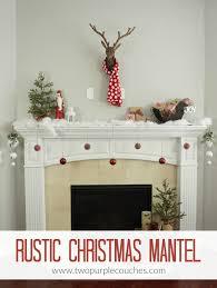 christmas mantel rustic christmas mantel two purple couches