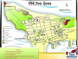 Puerto Rico On A Map by Old San Juan