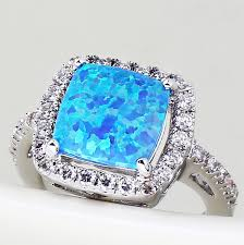 blue opal engagement rings not a fan of the emerald cut would prefer but i this