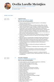 Executive Secretary Resume Sample by Legal Secretary Resume Samples Visualcv Resume Samples Database