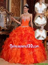 orange quinceanera dresses popular 2016 sweetheart beading sweet 15 dresses in orange