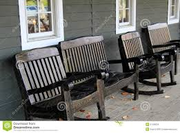 Rocking Chairs On Porch Four Wood Rocking Chairs On Front Porch Stock Photo Image 51396954