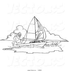 vector of a cartoon man sailing a trimaran coloring page outline