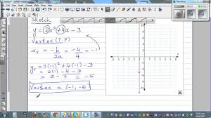 sketching parabola by plotting vertex y intercept and using line