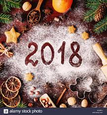 new year cookie cutters new year or christmas 2018 written on flour christmas decorations