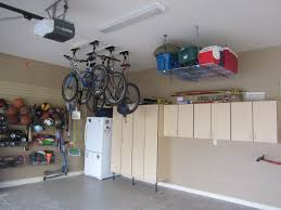garage ceiling storage overhead bicycle and cooler storage