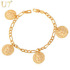 gold charm bracelet chains images Buy u7 france coin charm bracelets fashion gold jpg