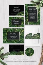 green wedding invitations chic modern tropical wedding invitations