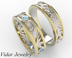 unique matching wedding bands his and hers two tone gold blue diamond wedding band set vidar