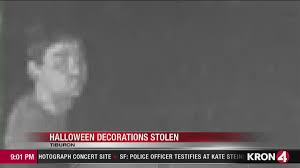 caught on camera thieves steal halloween decorations from tiburon
