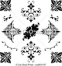 vectors illustration of black ornaments vector of black