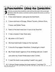 semicolon worksheetsworksheets