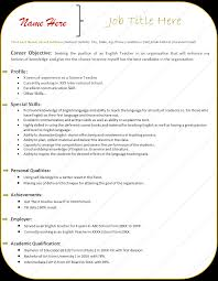 Sample Resume Format Doc Download by Sample Resume For English Teachers Doc Augustais
