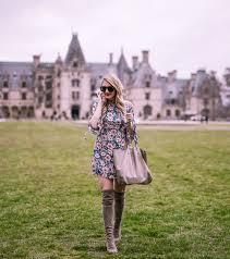 high neck floral dress at the biltmore estate visions of vogue