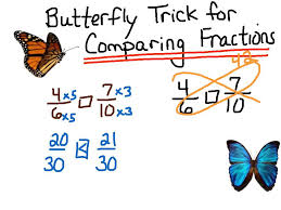 comparing fractions butterfly trick youtube
