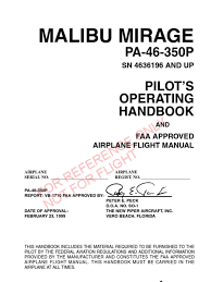 piper pa 46 350 malibu mirage poh airspeed instrument flight rules