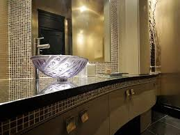 Powder Rooms Designs Amazing Powder Room Design With Cream Wall Color And Mosaic