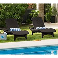 Outdoor Chaise Lounge For Two Amazon Com Keter Pacific 2 Pack All Weather Adjustable Outdoor