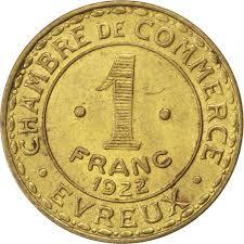 chambre du commerce evreux monnayage de nécessité evreux chambre de commerce 1 franc 1922