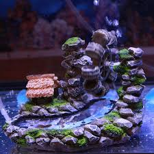 aquarium resin waterwheel decoration moving by air not
