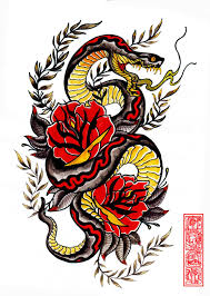inspiring traditional snake with roses design by jihyung