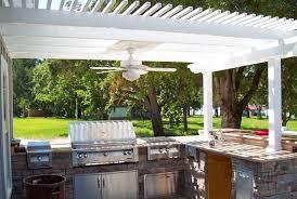 Pergola Ceiling Fan by Vinyl Pergola Kit Provides Shade To Outdoor Kitchen