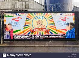 union mural belfast stock photos union mural belfast stock mural at the international peace wall belfast for the unite trade union stock image