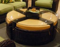 stool coffee table with ottomans underneath round coffee table