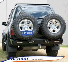 land cruiser pickup accessories kaymar rear bars spare wheel carriers jerrycan holders
