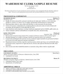 warehouse clerk resume u2013 inssite