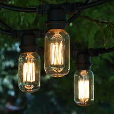 Edison Patio Lights 48 Black Commercial String Light T14 Edison Squirrel Cage Bulb