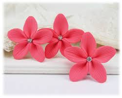 flower hair pins pink hair flowers pink flower wedding hair pins