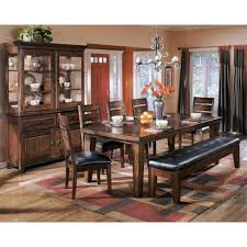 ashley dining table with bench larchmont extension large upholstery dining room bench burnished