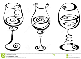 champagne silhouette elegant swirl designs clip art stylized black and white wine