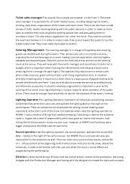 Event Management Job Description Resume by Events Management Team Job Roles