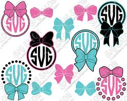 bow monogram dot southern bow circle monogram frame custom diy cutting file set