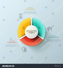 round pie chart divided into 3 stock vector 666211930 shutterstock