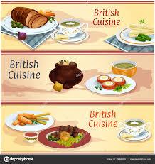 britische küche britische küche und snack gerichte banner set stockvektor 136844828