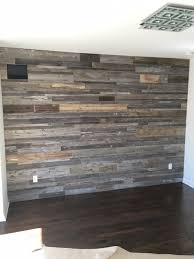 diy reclaimed wood accent wall grey shades mixed widths priced