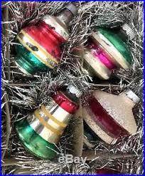 Glass Bell Christmas Ornaments - vtg shiny brite christmas ornaments glass bell ufo stripes stencil