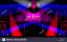 night club interior with colorful spot lights and shining mirror