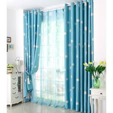 blue window curtains poly cotton blend fabric