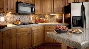Modern Small Kitchen Design by Modern Small Kitchen Design With Mosaic Backsplash And Grey